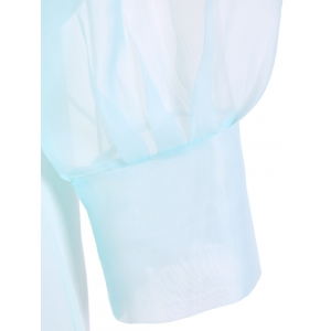 Pussy Bow Puff Sleeves Organza Panel Blouse - PALE GREEN L