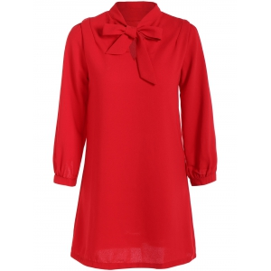 Pussy Bow Shift Dress - Red - S