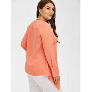 Plus Size Asymmetrical Empire Waist Blouse -