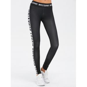 Sporty Letter Print Color Block Leggings - Black - S