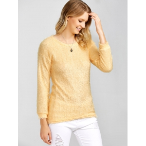 Drop Shoulder Long Fuzzy Sweater - APRICOT XL