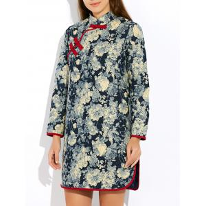 Floral Long Chinese Style Coat - Gray - Xl