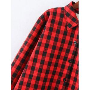 Plus Size Plaid Fleece Shirt Jacket - RED 4XL