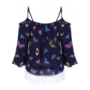Butterfly Print Lace Panel Blouse -