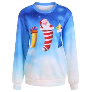 Ombre Color Socks Christmas Sweatshirt - Azure - One Size