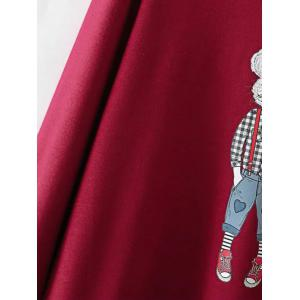 Plus Size Cartoon Print Fleece Sweatshirt - BURGUNDY 4XL