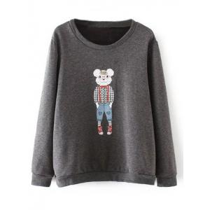 Plus Size Cartoon Print Fleece Sweatshirt