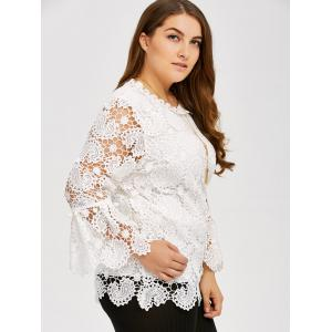 Plus Size Openwork Sheer Lace Blouse -