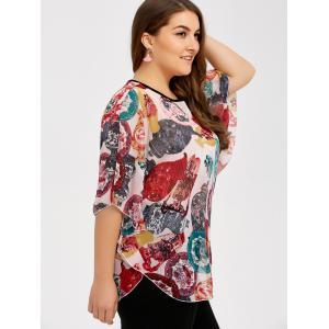 Plus Size Batwing Sleeve Colorful Patterned Blouse -