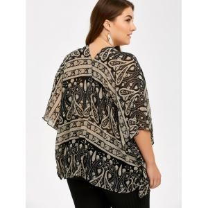Plus Size V Neck Ethnic Print Blouse -