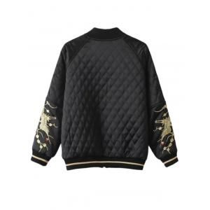 Slim Crane Embroidered Argyle Quilte Bomber Jacket -