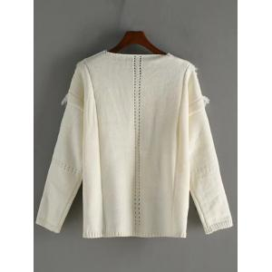 V Neck High Low Fringed Pullover Sweater -