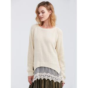 Raglan Sleeve Lace Spliced Asymmetric Pullover Sweater - OFF-WHITE XL