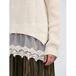 Raglan Sleeve Lace Spliced Asymmetric Pullover Sweater -