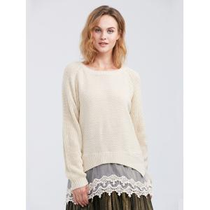 Raglan Sleeve Lace Spliced Asymmetric Pullover Sweater - Off-white - S