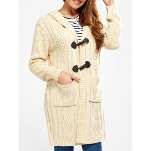 Hooded Long Cable Knit Cardigan