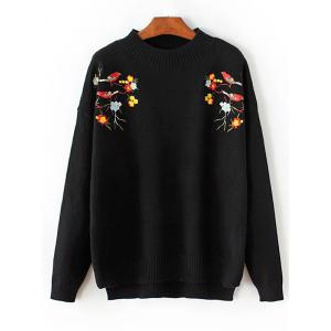 Crew Neck Floral Embroidered Pullover Sweater - Black - One Size