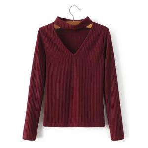 Keyhole Neck Pullover Ribbed Sweater - Burgundy - S