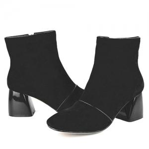 Chunky Heel Square Toe Zip Ankle Boots -