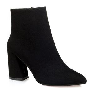 Pointed Toe Chunky Heel Zip Ankle Boots - Black - 37