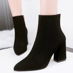 Pointed Toe Chunky Heel Zip Ankle Boots - BLACK 37