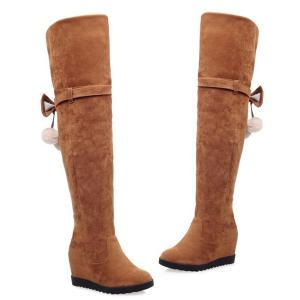 Hidden Wedge Bow Pompons Thigh Boots -
