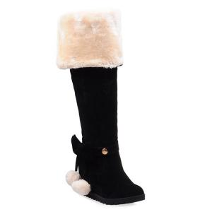Hidden Wedge Bow Pompons Thigh Boots - Black - 38