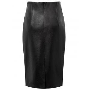 Faux Leather High Waisted Pencil Skirt - BLACK L