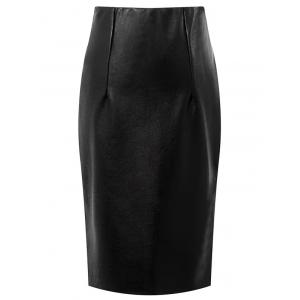 Faux Leather High Waisted Pencil Skirt - Black - S