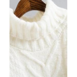 Cable Knit Mini Polo Neck Jumper Dress - WHITE ONE SIZE