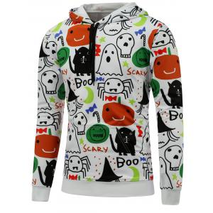 Ghost Print Pocket Front Halloween Hoodie