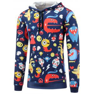 Cartoon Print Pocket Front Pullover Hoodie