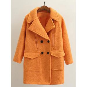 Long Double Breasted Wool Coat - Orange - L