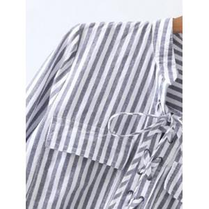 Striped High Low Lace Up Shirt - GRAY M