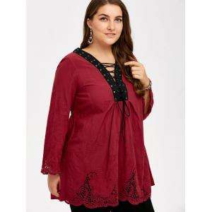 Plus Size Hollow Out Lace Up Blouse - WINE RED 5XL