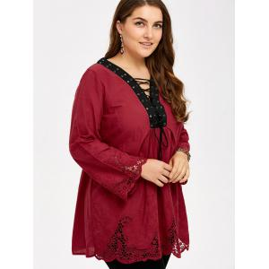 Plus Size Hollow Out Lace Up Blouse -