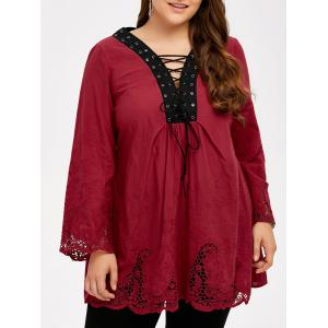 Plus Size Hollow Out Lace Up Blouse - Wine Red - 4xl