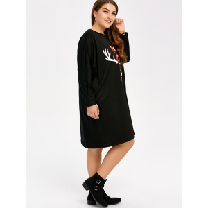 Casual Plus Size Letter Print Christmas Dress - BLACK ONE SIZE