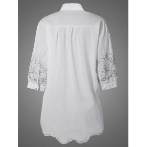 Embroidered Pintuck Button Up Blouse -