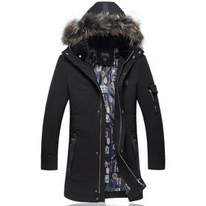 Detachable Furry Hood Plus Size Lengthen Down Coat - Black - 4xl