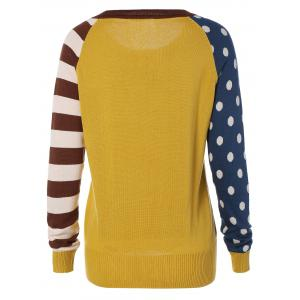 Polka Dot and Striped Sleeve Sweater - YELLOW ONE SIZE