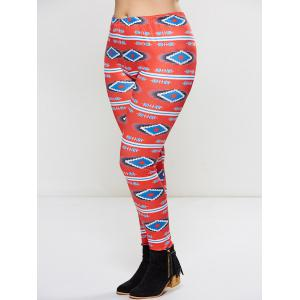 Plus Size Ornate Geometric Print Leggings - RED 4XL