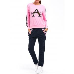 Striped A Graphic Pocket Design Sporty Suit - Pink - Xl