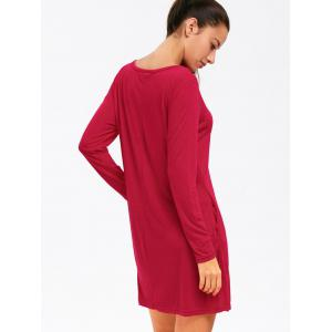 Long Sleeve Plain Casual Dress - RED XL