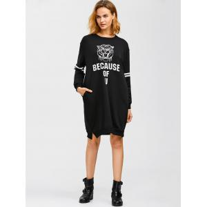 Because of U Graphic Tiger Print Dress - BLACK 2XL