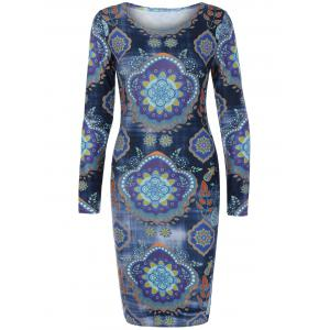 Ethnic Print Long Sleeve Dress