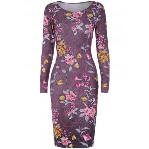 Long Sleeve Small Florals Print Dress - Smashing - L