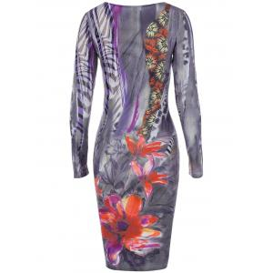 Long Sleeve Floral Painting and Zebra Print Dress -