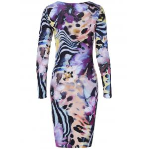 Long Sleeve Tiger Stripe Print Dress - COLORMIX 2XL