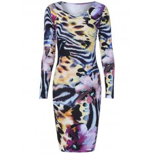 Long Sleeve Tiger Stripe Print Bodycon Dress